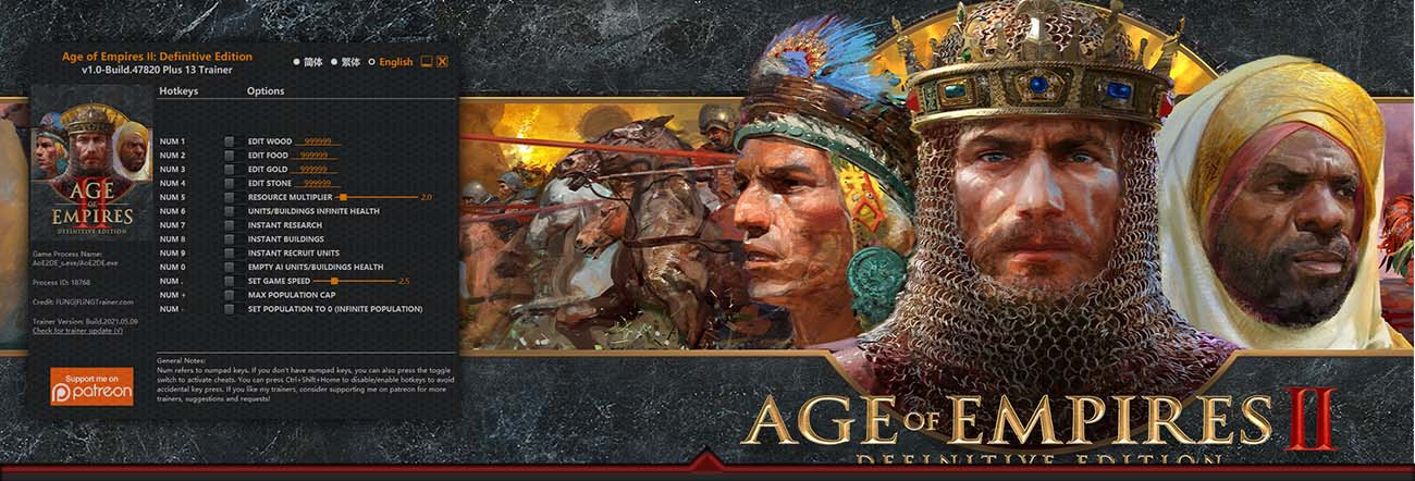 Age of Empires II: Definitive Edition – Trainer FLiNG