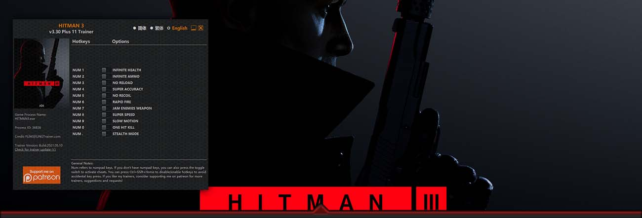Hitman 3 – Trainer FLiNG