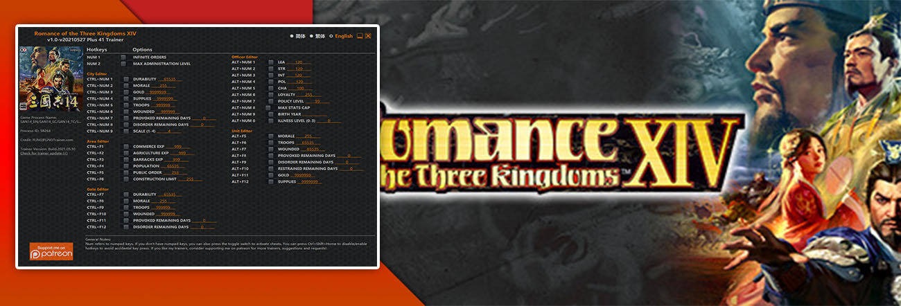 Romance of the Three Kingdoms XIV – Trainer FLiNG