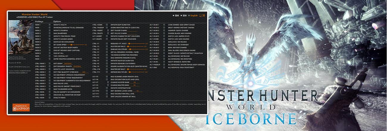 Monster Hunter World: Iceborne – Trainer FLiNG